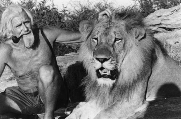 George Adamson with Christian the Lion.