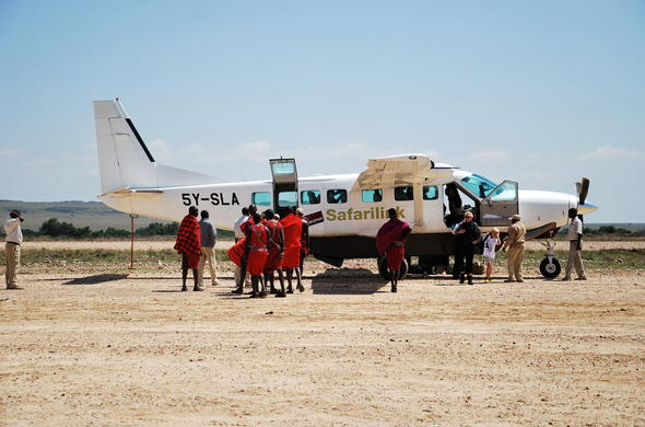 Departing from a bush airstrip in Kenya.