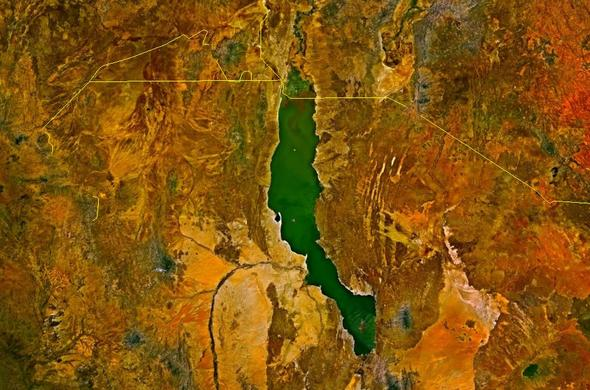 Kenya and Ethiopia satellite image of Lake Turkana. The yellow lines denote the borders.
