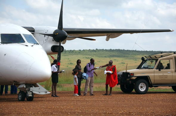 Flight arrival in the Masai Mara.