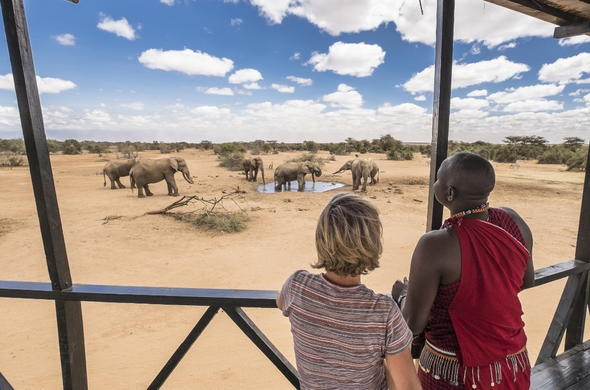 Game viewing deck at Porini Amboseli Camp.