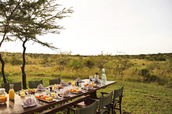 Delicious breakfast in the African wilderness at Richards Forest Camp.