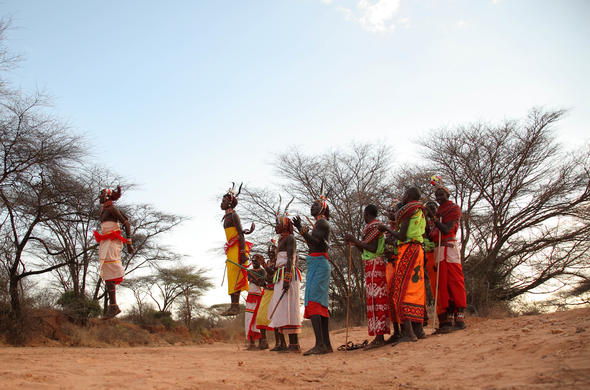 Samburu dancers in Kenya.
