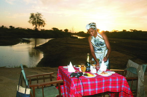 Dine riverside with your loved one at Sarova Shaba Game Lodge.