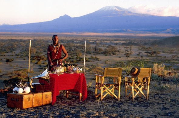 Mount Kilimanjaro as the backdrop during a sunset drink in Amboseli.