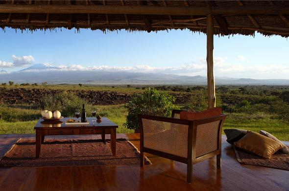 Deck overlooking Amboseli and Mount Kilimanjaro.