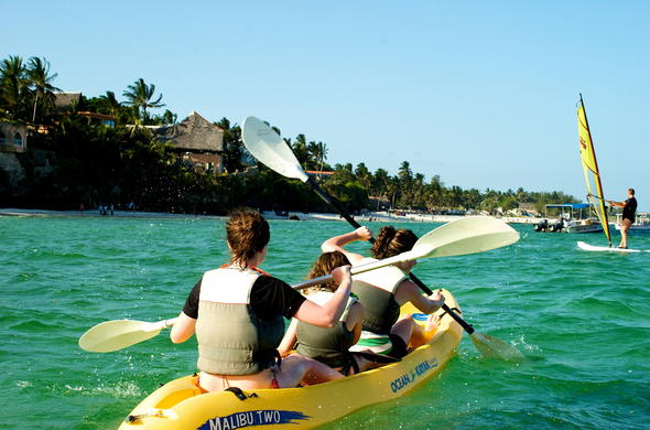 Kayaking is one of the watersports offered on your Mombasa beach holiday.